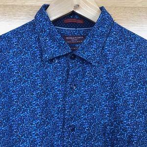 Men's Blue Pattern Slim Fit Button-down